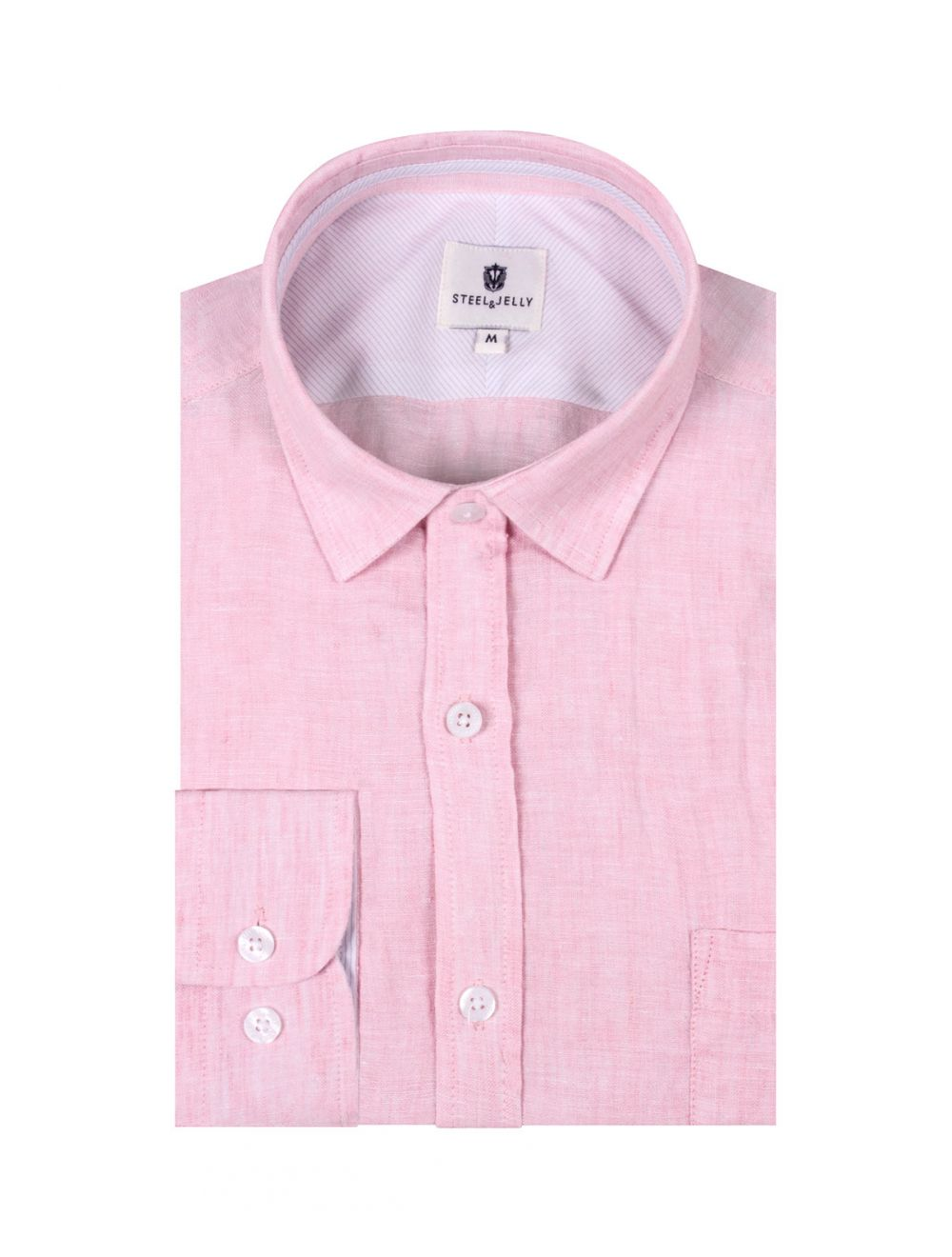 12b5b2a8 Mens Pink Linen Long Sleeve Shirt | Shop Mens Plain Shirts Online ...