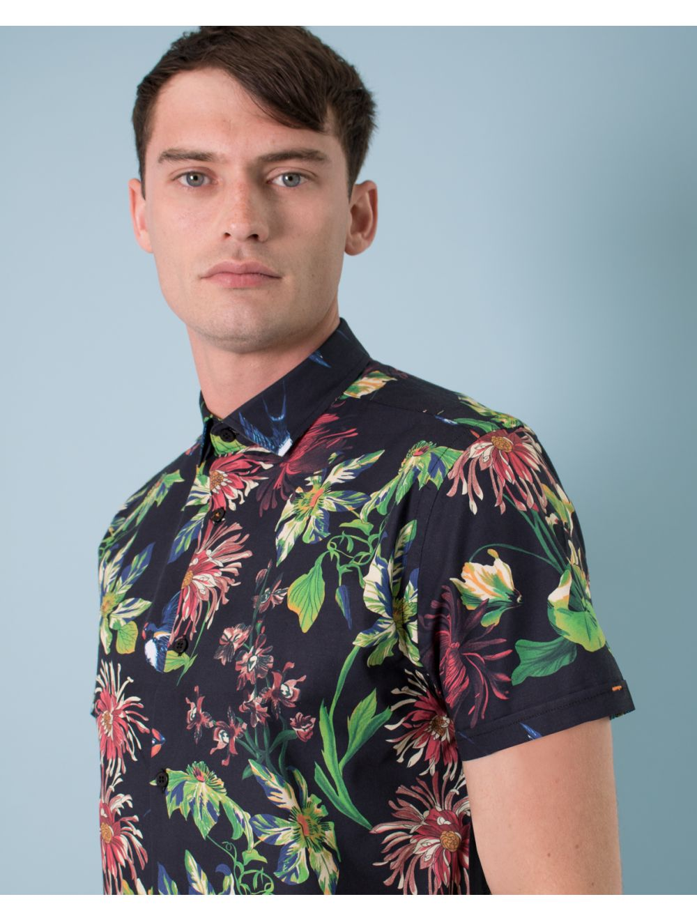 f986b395 Mens Limited Edition Tropical Floral Print Short Sleeve Shirt | Shop ...