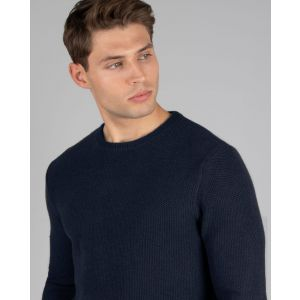 Navy Honeycomb Crew Neck Jumper