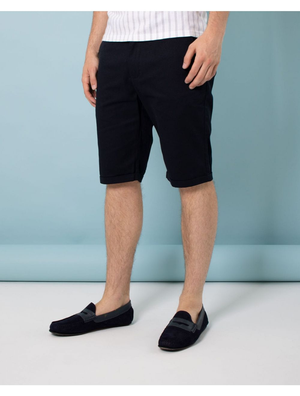 e976b78292 Mens Navy Slim Fit Cotton Stretch Chino Shorts | Shop Mens Shorts ...