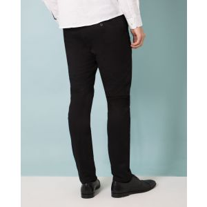 Black Twill Slim Fit Cotton Stretch Chinos