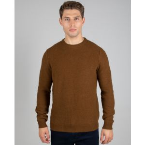 Light Brown Honeycomb Crew Neck Jumper