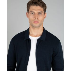 Navy Knitted Bomber